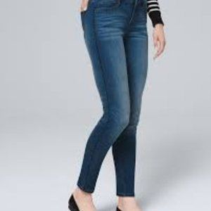 WHBM MID RISE SKINNY ANKLE JEANS FAUX LEATHER TRIM